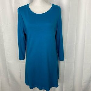 Isaac Mizrahi Live Essentials Teal Shirt Dress